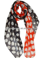 spot scrunch mixed colors scarf polyester voile