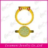 Brass copper jewellery ring with zircon diamond jewelry