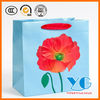 Everyday Spring Red Vellum Flower on Blue Square Gift Bag Paper Bags
