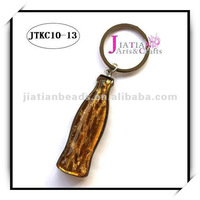 cola shape bottle opener/key chains with glass beads