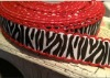 "7/8"" Black and White Zebra with RED Moonstitch Ribbon"