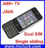 Hot TV Mobile Phone A99+ Quad Band Sliding with JAVA and Camera