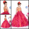 Custom Made Spaghetti Straps Beaded Red Organza Ball Gowns Flower Girl Dress Patterns