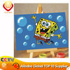 10*15cm kids cartoon canvas diy digital oil painting--Spongebob's embrace