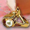white pearl ring, round pearl ring, pearl crystal gold ring