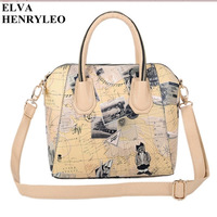New style bear map pattern women print PU tote&messenger bag
