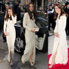 Free shipping Kate middleton Thigh-High Slit Dress party gown long sleeve evening dress