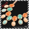 Bubble Necklace Fashion Golden Chain Multi-colors Oval Resin Beads Pendant Necklace AS0317