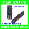 (Black)Unique design man or woman fashionable Digital LED Metal Lava Samurai Bracelet Watch --Blue or Red LED