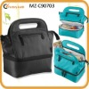 unique two-compartment design insulated nylon lunch bag