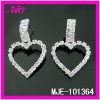 wholealse fashion silver plated rhinestonen heart earrings