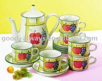 Stoneware 14pcs Handpainted Tea Set
