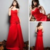 Fit and flare dropped waist gown in satin evening dress