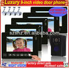 "Wholesales 9"" TFT LCD touch key wired video intercom system 1 to 5,support 4CH video in, 1CH video out,door unlock"