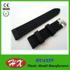 Black Silicon ripple pattern watch strap