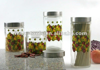 Fruit Pattern Decal Round Shape Glass Jars