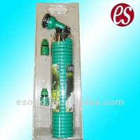 25' Spiral/Coiled PU Water Hose Kit with Water Spray Nozzle