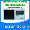 Retail-Wholesale Tecsun CR-100 FM Stereo MW TV Sound Pll Synthesized Radio cr100