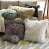 Mongolian lamb fur cushion, leather cushion, cushion cover, pillow