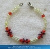 Garnet+light apple green wrist bracelets& bangles