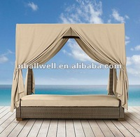 2012-garden rattan daybed-waterproof and anti-UV canopy