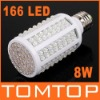8W E27 166 LED Energy Saving Corn Light Bulb Lamp 360 Degree, 6500K