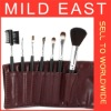 Make up brush professional 7pcs set with red leather bag W053M