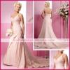 Simple and elegant A-line/princess V neckline sleeveless satin spaghetti straps wedding dress sswd0026