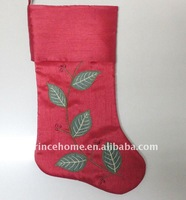 Leaves embroidery Christmas stocking