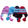 100% acrylic jacquard knitted baby's hat with earwith fleece lining