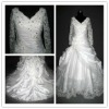 V-neck long sleeve lace real wedding dress (hy404)