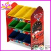 children wooden toy storage with 9 pcs plastic bins,W08C002