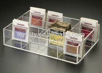 Clear Acrylic tea bag tray with 12 compartments