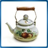 enamel tea pot with wooden handle
