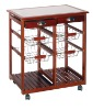 mahogany wooden kitchen cart with a ceramic tiled top