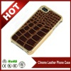 Gold Chrome Brown Crocodile Leather Phone Case