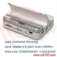Docking with card reader+hub+HDMI+VGA out for Ipad