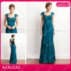AZ0578 Cap Sleeve Ruffle Floor-length Chiffon mother of the bride evening sequins beaded dresses