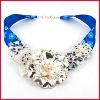 Blue Ribbon Chain Alloy Pendant Necklace