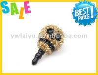 shamballa bead dust plug good quality anti-dust plugs for phone holes