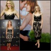 PD 008 Custom Unique Cap Sleeve Tea Length Black Lace Celebrity Evening Dress Fashion 2012