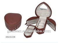 Mirrored leather multilayer heart shape jewel box