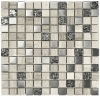 Popular Wooden gray,glass and metal blend mosaic
