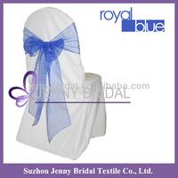 SH034 royal blue organza chair ties,wedding chair cover and organza sash