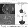 Tree root wrapper made of wire basket and wire cage